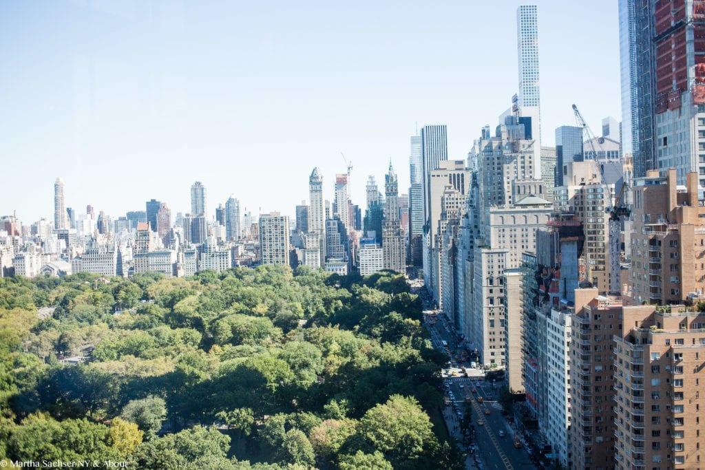 Vista para o Central Park no restaurante Asiate