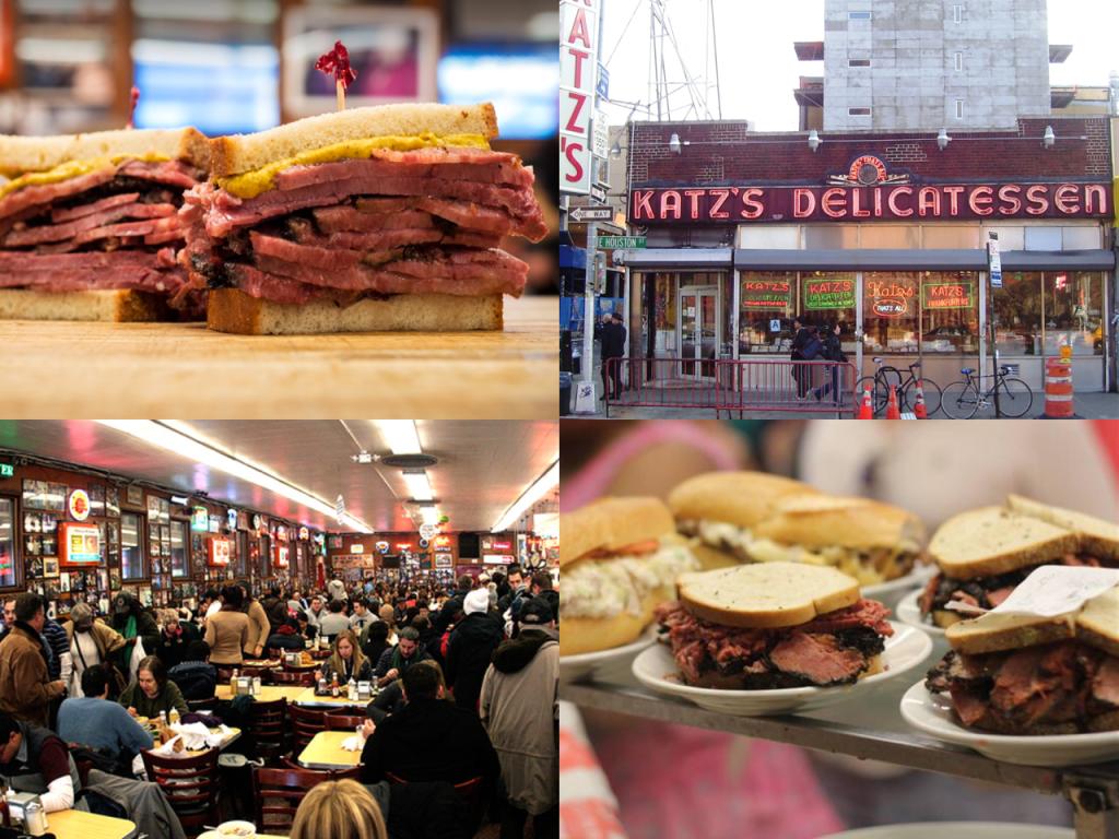 Fotos dos sanduíches e do ambiente do Kat'z Delicatessen