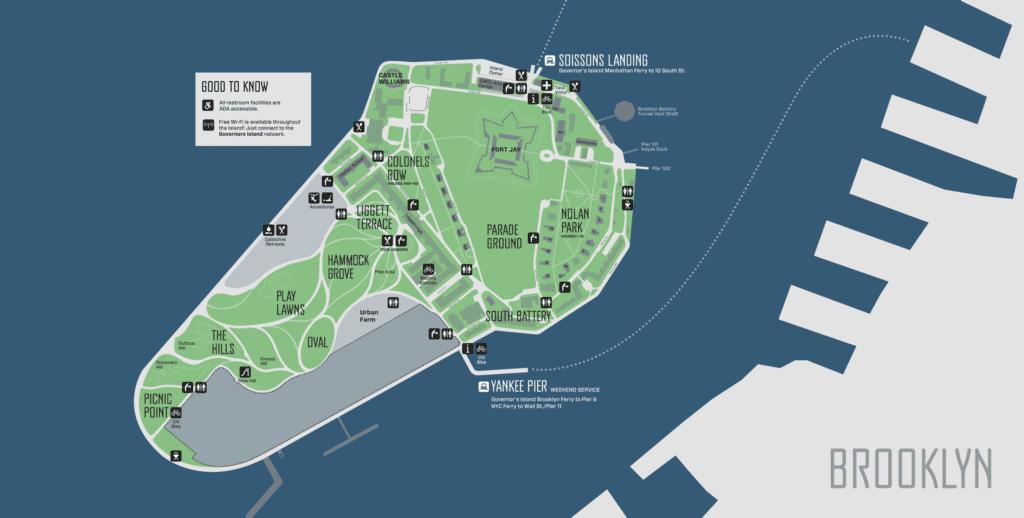 Mapa de Governors Island