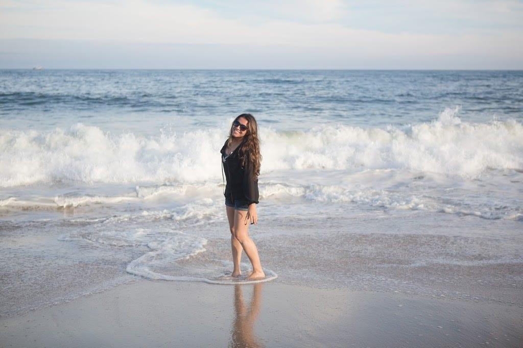 Curtindo a praia em Long Island.